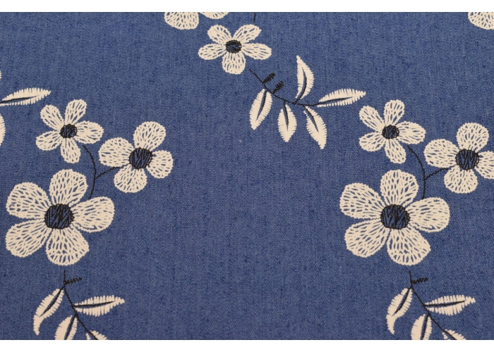 Jeans stretch Blumen blau