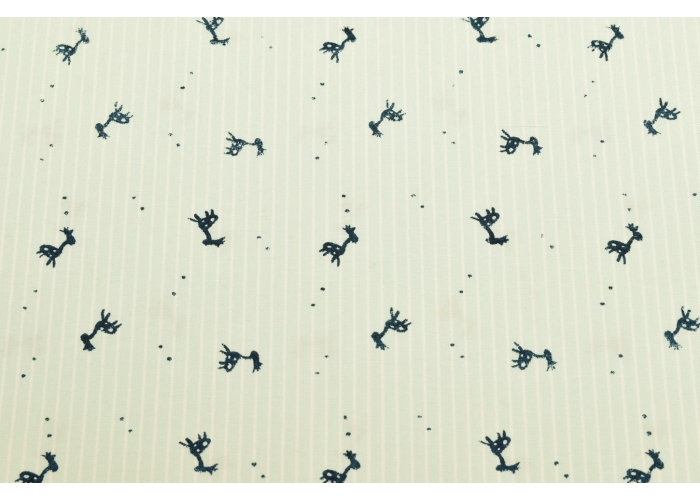 polyester cotton striped with deer light mint
