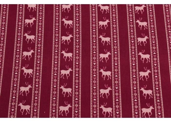 cotton folk costume striped with deer wine-red
