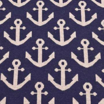 Jacquard tricot ankers donkerblauw