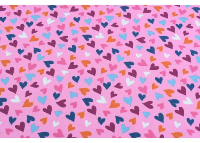 cotton jersey hearts pink