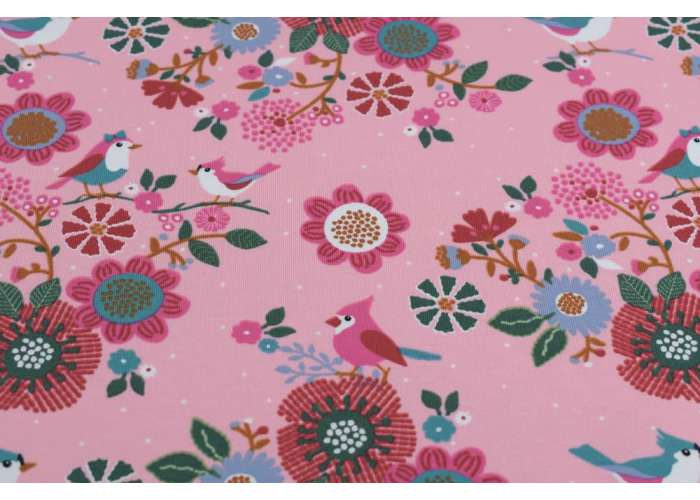 French Terry birds with flowers pink