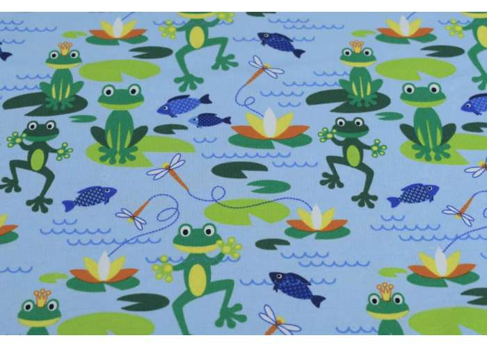 cotton jersey frogs light blue