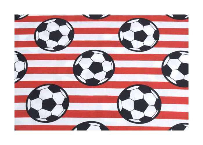 cotton striped with soccer balls red
