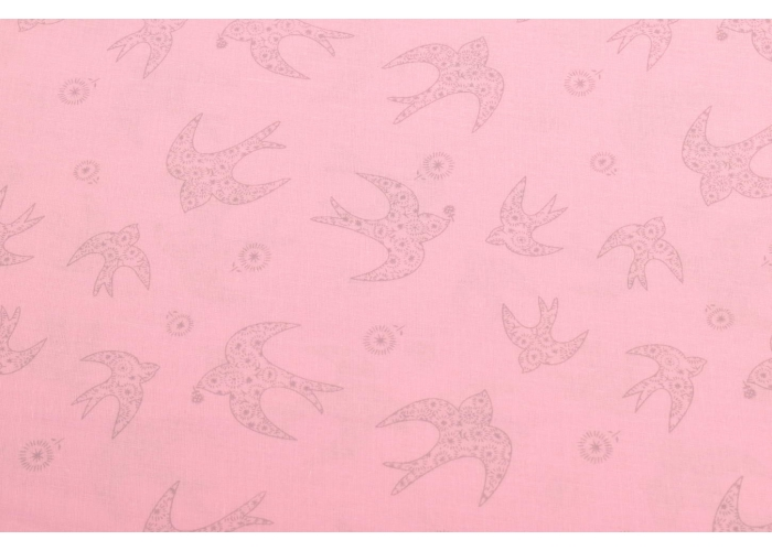 cotton voile swallows light pink