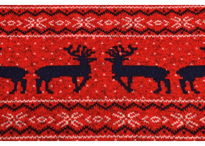 Strickfleece Norweger Rentier rot