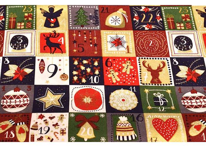 Baumwolle Christmas Advent offwhite