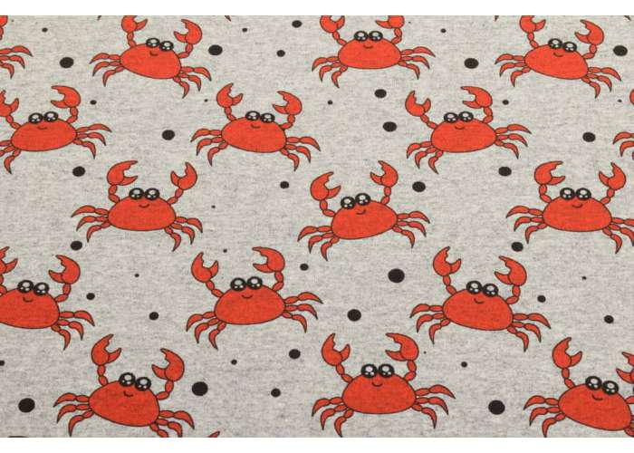 French Terry crabs marl light grey